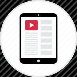 browsing, ipad, list, playlist, youtube, youtubers icon