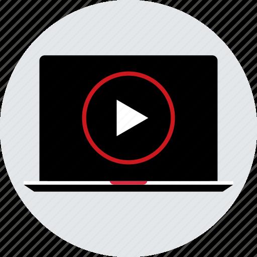laptop, media, play, tube, video, youtube icon