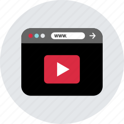 browser, homepage, internet, online, web, youtube icon