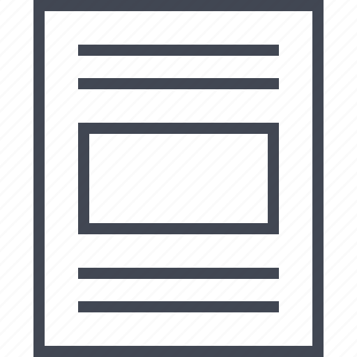 center, layout, photo, wireframe icon