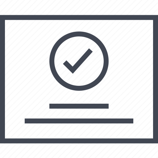 checkmark, circle, page, wireframe icon
