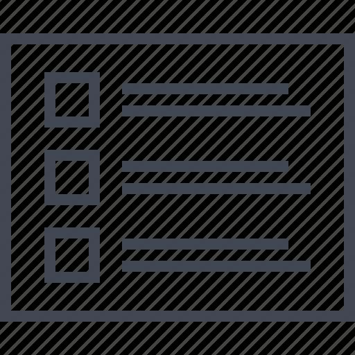 data, list, three, wireframe icon
