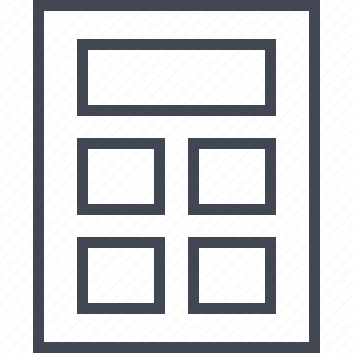 box, five, gallery, wireframe icon