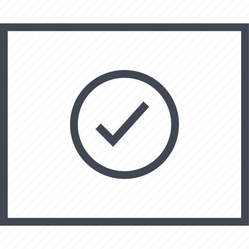 check, circle, good, mark, wireframe icon