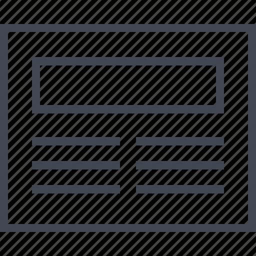 blog, header, layout, wireframe icon