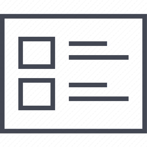 box, list, two, wireframe icon