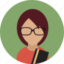 avatar, bookworm, female, reading, woman icon