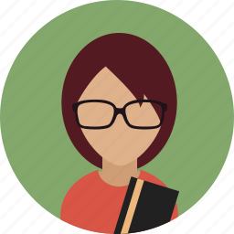 avatar, bookworm, female, reading, woman icon