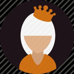 avatar, crown, drama, person, queen, woman icon
