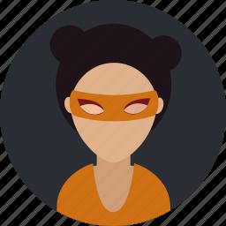 costume, female, hero, mask, person icon