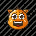 cat, cute, emoji, emoticon, grinning, happy, smile icon