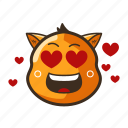 cat, cute, emoji, emoticon, heart, love, smile