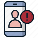 alert, contact, emergency, person, phone icon