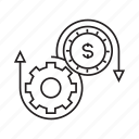 cog, dollar, gear, mechanical, money, rotate, system icon