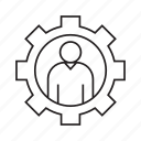 cog, gear, people, person icon