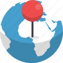 destination, earth, globe, location, marker, navigation, orientation icon
