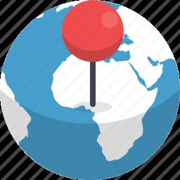destination, earth, globe, location, marker, navigation, orientation icon