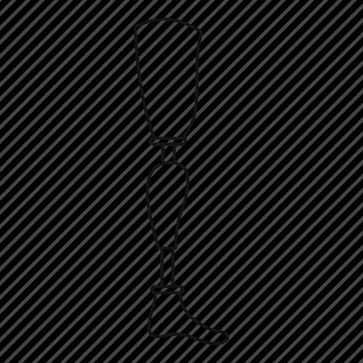 amputated, amputation, limb, line, outline, prosthesis leg, thin icon