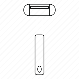 doctor, hammer, line, outline, reflex, reflex hammer, thin icon