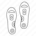 feet, line, medical, orthopedic insoles, outline, support, thin icon