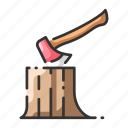 axe, carpenter, forest, log, stump, tree, trunk icon