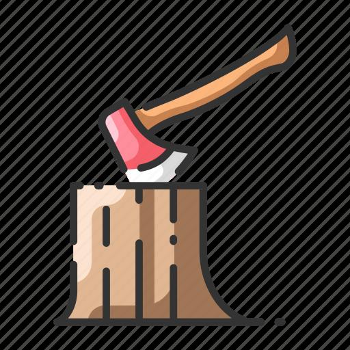 axe, carpenter, forest, log, stump, tree, trunk icon