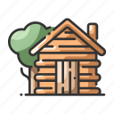 cabin, home, house, rustic, tree, wood, wooden