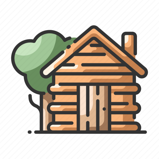cabin, home, house, rustic, tree, wood, wooden icon