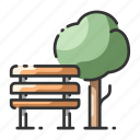 bench, garden, nature, park, public, recreation, tree icon