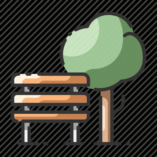 bench, garden, nature, park, public, recreation, tree icon