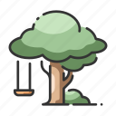 childhood, garden, outdoor, playground, relaxation, swing, tree icon