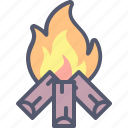 campfire, camping, fire, flame, nature, outdoors, wood icon