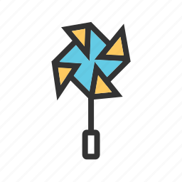 color, colorful, fan, paper, toy, wind, windmill icon