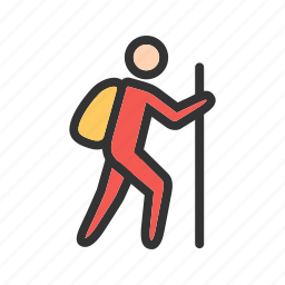 hiker, hiking, nature, outdoor, survival, travel, trekking icon
