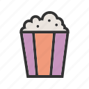 corn, food, pop, popcorn, snack, tasty, white icon