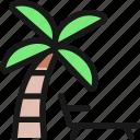 beach, palm, sunbed