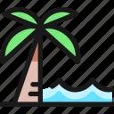 water, beach, palm