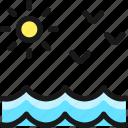 beach, sun, birds