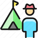 camping, tent, person