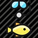 diving, mask, fish
