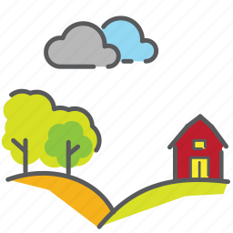 ban, bushes, clouds, countryside, hillside, house, outdoor icon