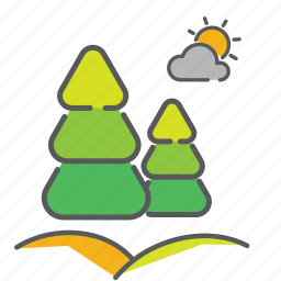 clouds, hills, hilly, pourdown, rain, seasons, sunny icon