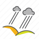 clouds, hills, pourdown, rain, seasons, thunderstorm icon