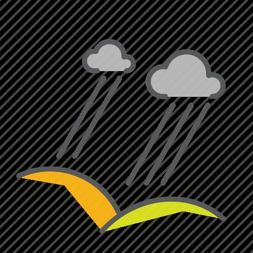 clouds, hills, pourdown, rain, seasons, thunderstorm icon