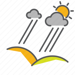 clouds, hills, pourdown, rain, seasons, sunny, thunderstorm icon