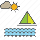 aqua, boat, marine, offshore, sea, shore, yatch icon
