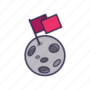 accomplished, flag, planet, space, star icon