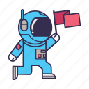 accomplish, astronaut, flag, human, space icon