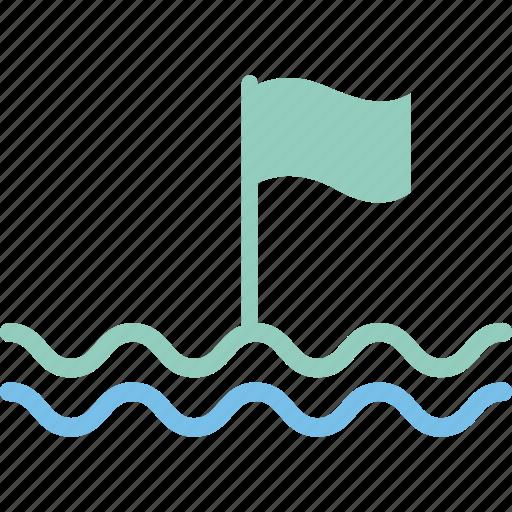 buoy, finish, flag, line icon