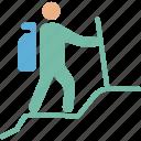 athlete, backpack, human, mountain icon